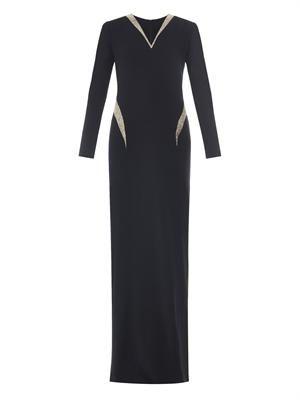 Metallic-panel crepe gown