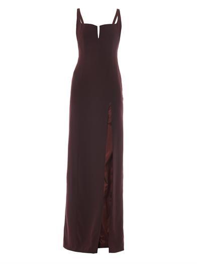 Galvan Hidden-corset crepe gown