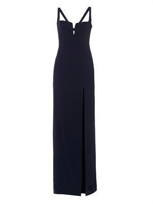 Hidden-corset crepe gown