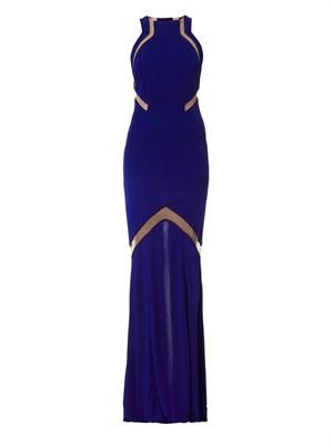 Mesh-insert stretch-crepe gown
