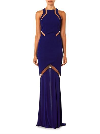 Galvan Mesh-insert stretch-crepe gown