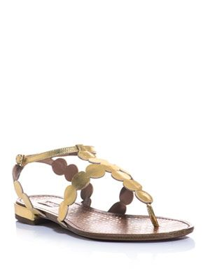 Leather disc flat sandals