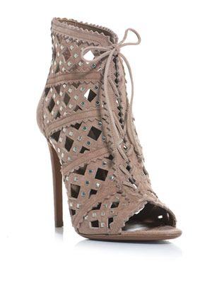 Suede lattice cut studded ankle boots