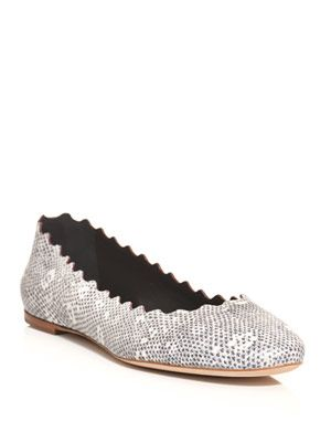 Scalloped-edge lizard texture flats