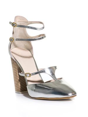 Metallic leather block heel shoes