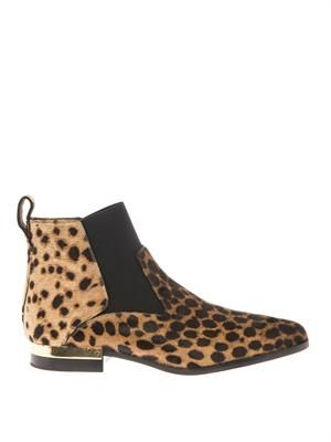 Drew leopard-print calfskin ankle boots