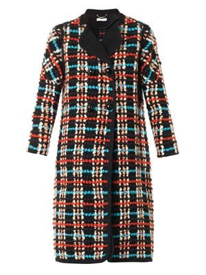 Check bouclé wool-blend coat