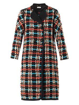 Check bouclé wool-blend coat