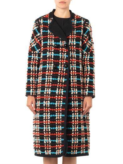 Chloé Check bouclé wool-blend coat