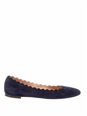 Lauren scalloped-edge flats