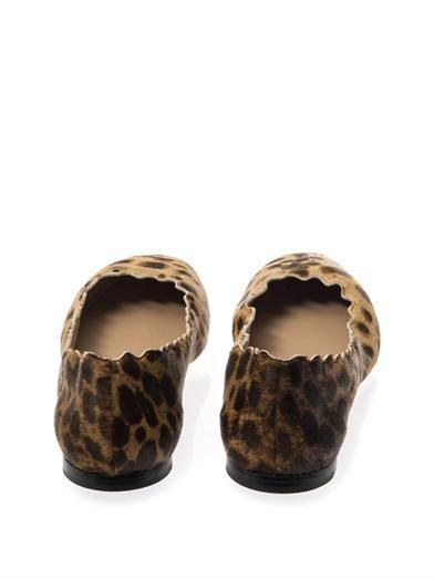 Chloé Lauren leopard calf-hair flats