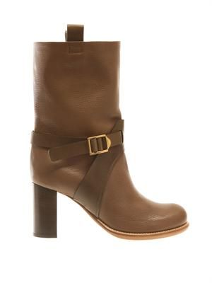 Buckle leather boots