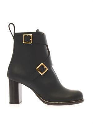 Double-buckle leather ankle boots