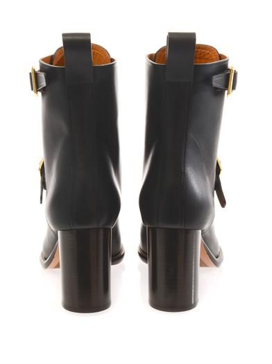 Chloé Double-buckle leather ankle boots