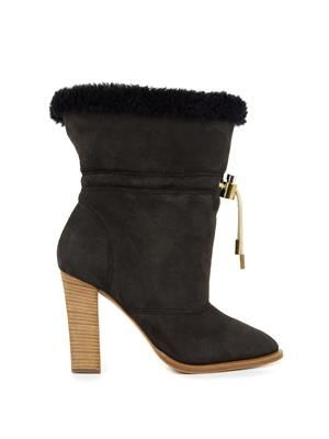 Drawstring sheepskin ankle boots