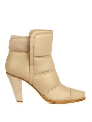 Quilted-panel leather ankle boots