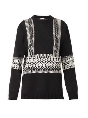 Stencil-intarsia wool sweater