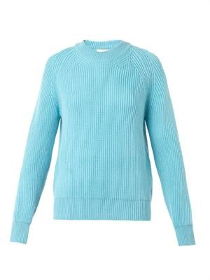 English ribbed-knit wool sweater