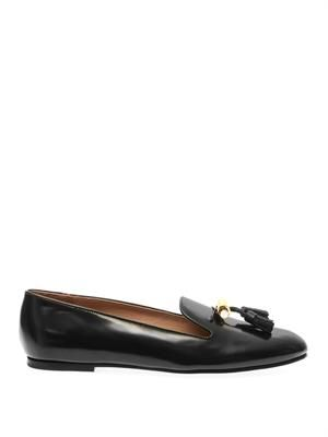 Dafne high-shine leather tassel loafers