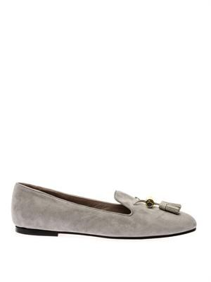 Leather-tassel suede loafers