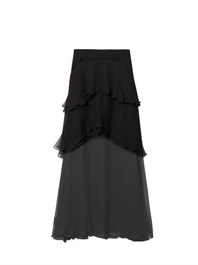 Chloé Tiered silk-mousseline skirt