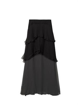 Tiered silk-mousseline skirt
