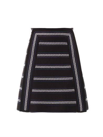 Chloé Textured striped A-line skirt