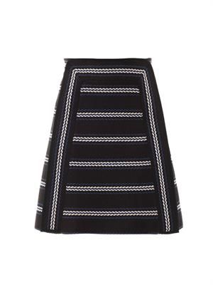 Textured striped A-line skirt