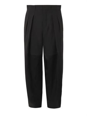 Satin and crepe trousers