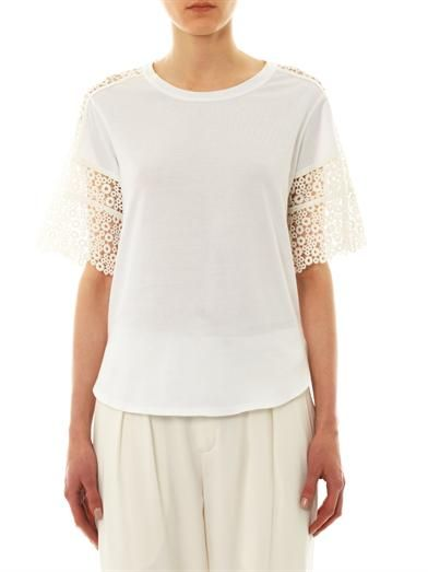 Chloé Lace-sleeve T-shirt