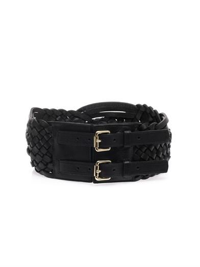 Altuzarra Braided leather double-buckle belt