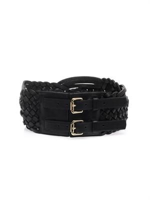 Braided leather double-buckle belt