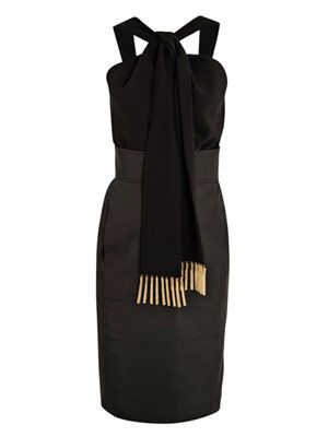 Vani gold-fringe halterneck dress