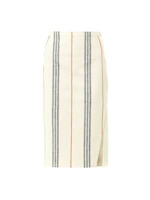 Miki striped side-slit pencil skirt