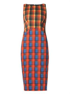 Shadow multi-check sheath dress