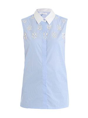 Banker-stripe embellished sleeveless shirt