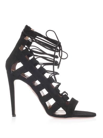 Aquazzura Amazon suede lace-up sandals
