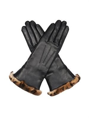 Fur and lamb leather gloves