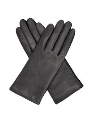 Calf-hair and leather gloves