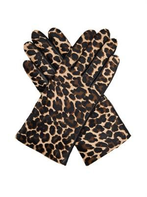 Leopard calf-hair and leather gloves