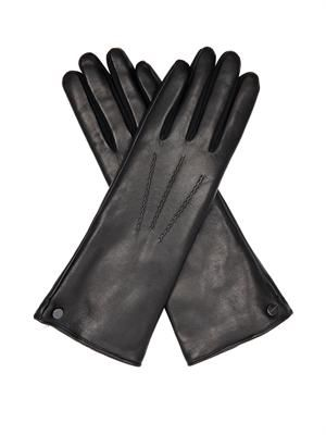Fur-lined lamb leather gloves