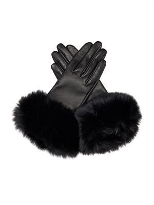 Carole fur and leather gloves