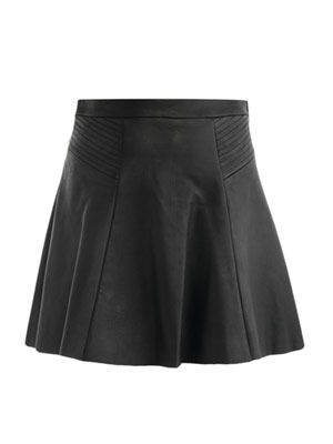 Leather swing skirt
