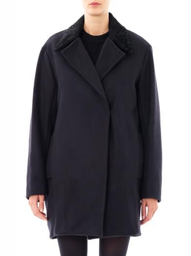 A.L.C. Shearling collar wool coat