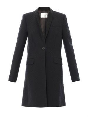 Rune chequerboard jacquard coat