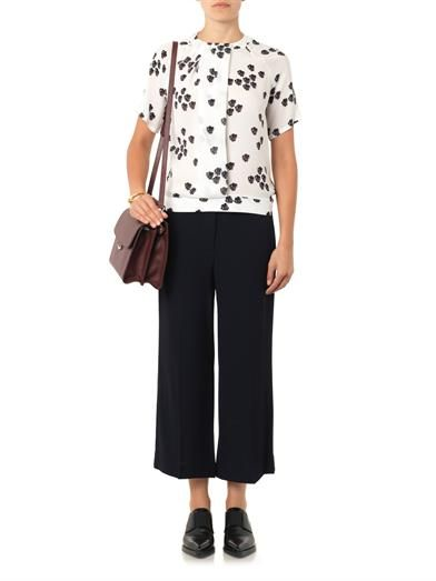 A.L.C. Wide-leg cropped crepe trousers