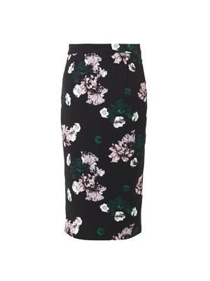 Winter Floral-print silk skirt
