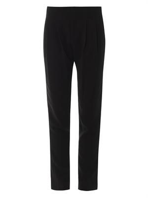 Kinnsley pleat-front crepe trousers