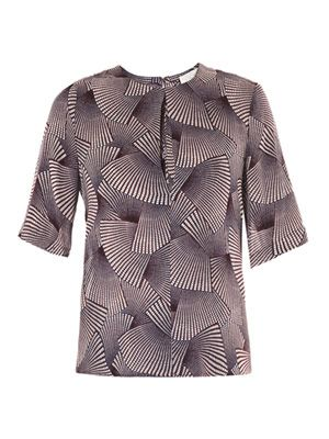 Fan-print silk top