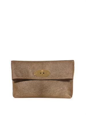 Clemmie metallic fold-over clutch
